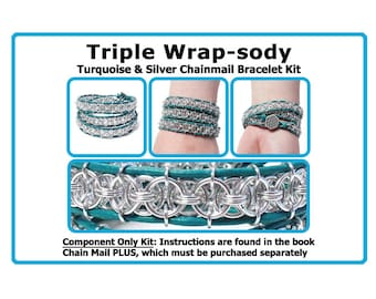 Kit for Triple Wrap-sody Chainmail Bracelet / Components Only Kit or Kit plus Book / kit includes leather cord, pewter button and jump rings