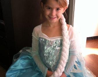 Elsa Wig, Elsa Hair, Elsa yarn Wig, Frozen Queen Elsa Wig (hair, braid) for Costumes, made with sparkly white yarn. Frozen Elsa inspired