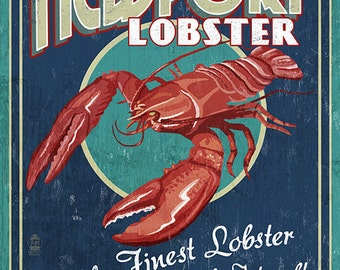 Newport, Rhode Island - Lobster Vintage Sign (Art Prints available in multiple sizes)