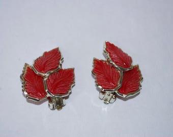 Red Leaf Earrings - Clip-On Earrings - Mid Century