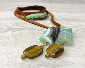 Wrap Necklace with Green Agate Slice & Brown Leather-Chic Boho Wrap Necklace/wrap bracelet/headband For Music Festivals (limited edition)