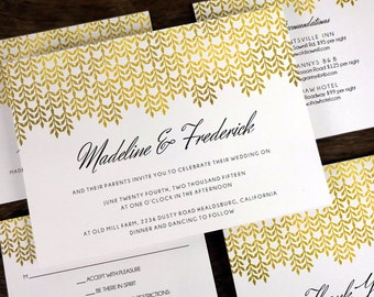 Gold Printable Wedding Invitation Set - Gold Effect Wedding Printables - Print Your Own Wedding Invites, Save the Dates, RSVPs, Info Cards
