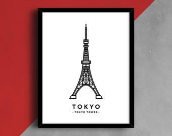 Tokyo Print, Tokyo Tower, Japan Print, Tokyo Illustration, Tokyo Travel Print, Famous Tower, City Skyline