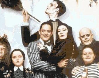 Addams Family Portrait Cross Stitch Pattern