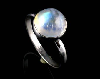 Moonstone Ring, Rainbow Ring, Silver Ring,Sterling Silver Ring