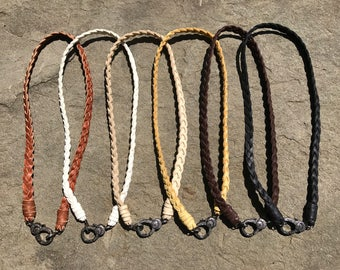 Quality Deerskin Braided Leather Necklace with Pave Diamond Lobster Claw Clasp (Multiple Colors Available)