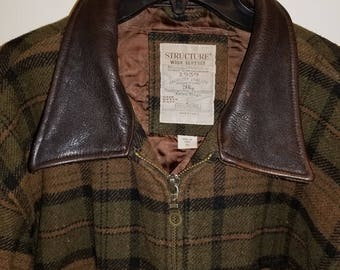 Plaid Coat w/ Leather Collar by Structure