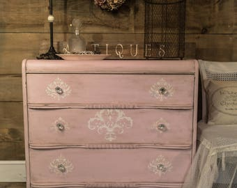 SOLD | Pale pink shabby distressed chalk painted antique dresser, shabby chic baby change table dresser, painted chest of drawers, entryway