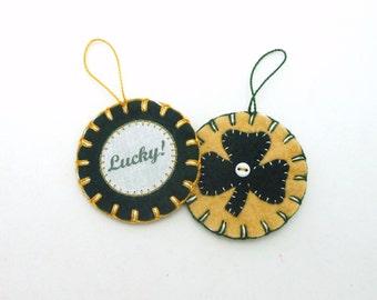 Wool Felt St. Patrick's Day Ornaments - Set of 2