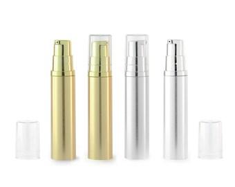 Empty Airless Pump bottles Silver / Gold Clear Cap 10ml