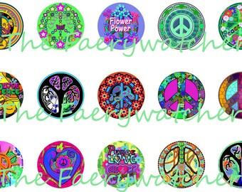 One Inch Groovy Hippie Pins, Hippie Magnets, Hippie Flatbacks, Peace Sign Pins, Flower Power Pins