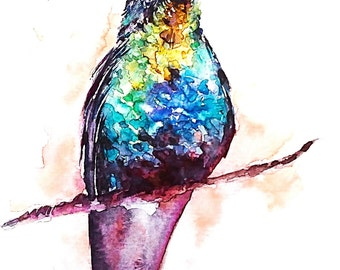 Lovely Hummingbird on Branch painting: a print of my original watercolor piece, 2 sizes, matted and protected