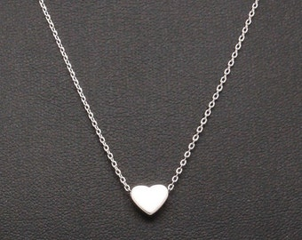 Dainty Necklace, Tiny Silver Heart, Delicate Fine Chain, Simple Single Heart Necklace
