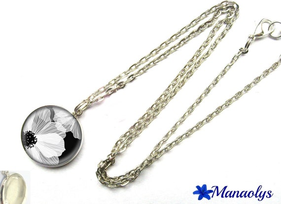 White Flower necklace on black background, 300 glass cabochon silver plated chain