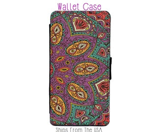 Mardi gras purple gold Mandala iphone 7 Case , iphone 7 case , iphone 7 Wallet Case , iphone 7 , iPhone 7 Wallet