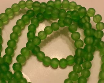 50 green frosted beads size 6mm