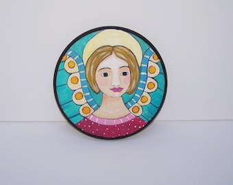 "Folk Art Angel Painting Original One of a Kind 8 1/2"" round"