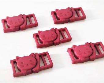 """5 Purple Cat Collar Buckles - 1/2"""" Cat Head Breakaway Buckles - Cat Collar Parts"""