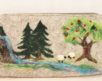Needle Felted wallet, Felted Wallet, Sheep Wallet, Needle felted Clutch Wallet #3425