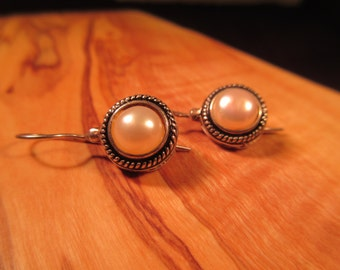 Delicate Vintage Sterling Silver Pearl Earrings