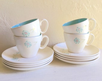 Vintage Taylor Boutonniere Ever Yours Tea Cup and Saucer Set for Four 4 Turquoise Aqua Teal and Pink Cream