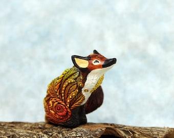 Happy Red Fox Figurine, Cute Animal Sculpture, Velvet Clay Totem, TotembyKarhu