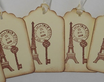 Paris, Postage Mark and Key Gift Tags