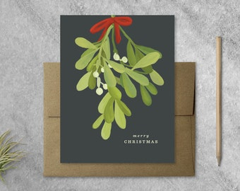 Boxed Set of 8 Mistletoe Christmas Cards with Kraft Envelopes