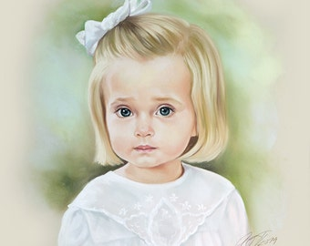 Pastel portrait of a little girl