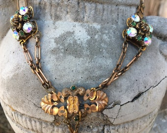 Emerald Green Victorian Necklace Vintage Brass Chain Assemblage Necklace Rhinestone Ooak jewelry Prom jewelry