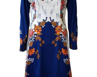 UNBRANDED Vintage Blue And White Floral Tunic Dress