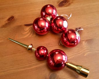 Vintage, Retro, red, plastic, Christmas , tree, topper, and, baubles, gold, tall, decorations, ornaments