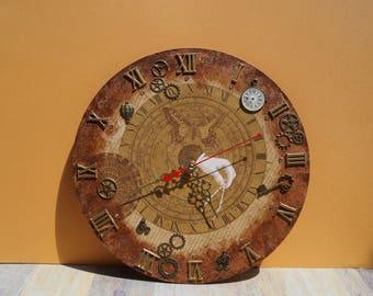 Wall clock Steampunk wood clock unique wall clock handmade clock wooden wall clock wall clocks home decor art clock original clock gift