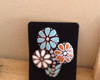 Zuni inspired turquoise coral mother of pearl gourd flower brooch