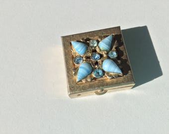 Vintage jewel adorned pill trinket box container