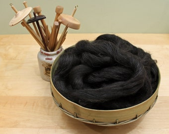 Icelandic Wool - Natural Black - Undyed Roving for Spinning or Felting (8 oz)
