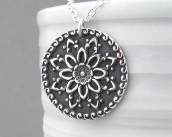 Dahlia Necklace Floral Mandala Necklace Long Silver Necklace Sterling Silver Circle Pendant Necklace Birthday Gift for Women Flower Jewelry