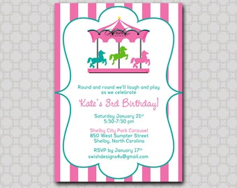 Carousel Birthday Invitation --- Merry-go-round, horse, digital girl pink teal blue printable party