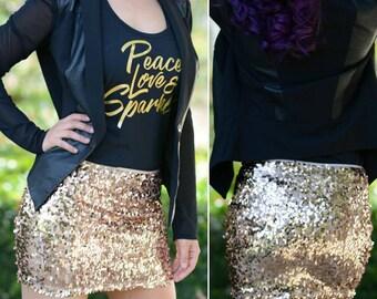 Shiny Rose Gold Peach Mini Sequin Skirt - Stretchy, beautiful, fun mini skirt (S, M, L, XL) Ships asap!