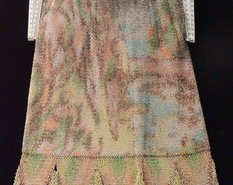 WHITING and Davis Dresden Mesh Bag / Marcasite Frame Mesh Bag / Vintage Whiting and Davis Tie Dye Bag / Art Deco Mesh Bag / Baby Mesh Bag