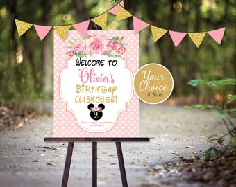 Clubhouse Birthday Party Welcome Sign | Any Age | Printable | Pink Black Gold with a Floral Crown | Personalized | PRINTABLE DIGITAL File
