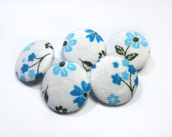 White blue floral buttons, cloth buttons, Fabric Covered Buttons, small buttons, children buttons, plastic shank girl buttons