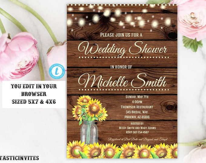 Rustic Wedding Shower Invitation, Rustic Invitation, Sunflower invitation, Editable Template, Wedding Shower Invitation, Template, YOU EDIT