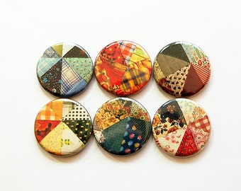 Quilting Magnets, Patchwork Magnets, Button magnets, Fridge Magnet, Kitchen Magnets, gift for mom, gift for quilter, green, orange (5468)