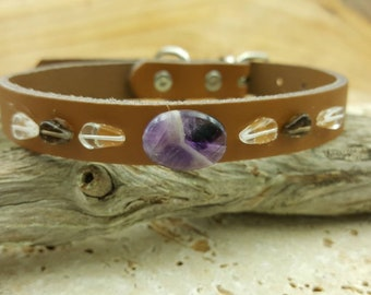 Brown natural gemstone Chevron Amethyst, Smokey Quartz and Clear quartz healing pet collar FREE CHARM