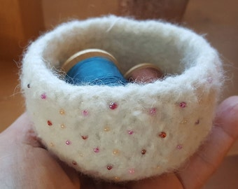 Oh So Tiny Felted Bowl in Winter White with a Valentine's Touch