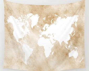Wall Tapestry, Wall Hanging, Sofa Throw, Design 82 World map light brown tan sepia Home Decor L.Dumas