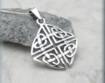 Celtic Necklace Knot Shield Celtic Jewelry Sterling Silver Pendant Irish Jewelry Endless Heart Knotwork