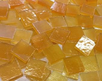 Golden Honey Amber Stipple Stained Glass Mosaic Tile B34/O6