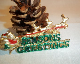 """Vintage 1970's AJC Signed Santa with Reindeer Brooch Reads """"Season's Greetings"""" Holiday Gifting Great Condition Costume Jewelry"""